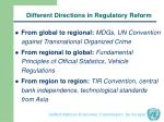 different directions in regulatory reform