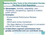 tapping the new tools of the information society the role of soft regulation