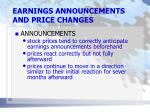 earnings announcements and price changes