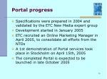 portal progress
