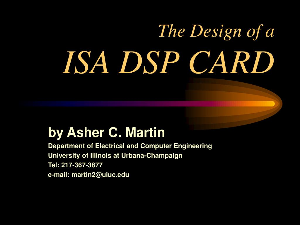 the design of a isa dsp card l.