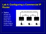 lab 4 configuring a commercial ip router