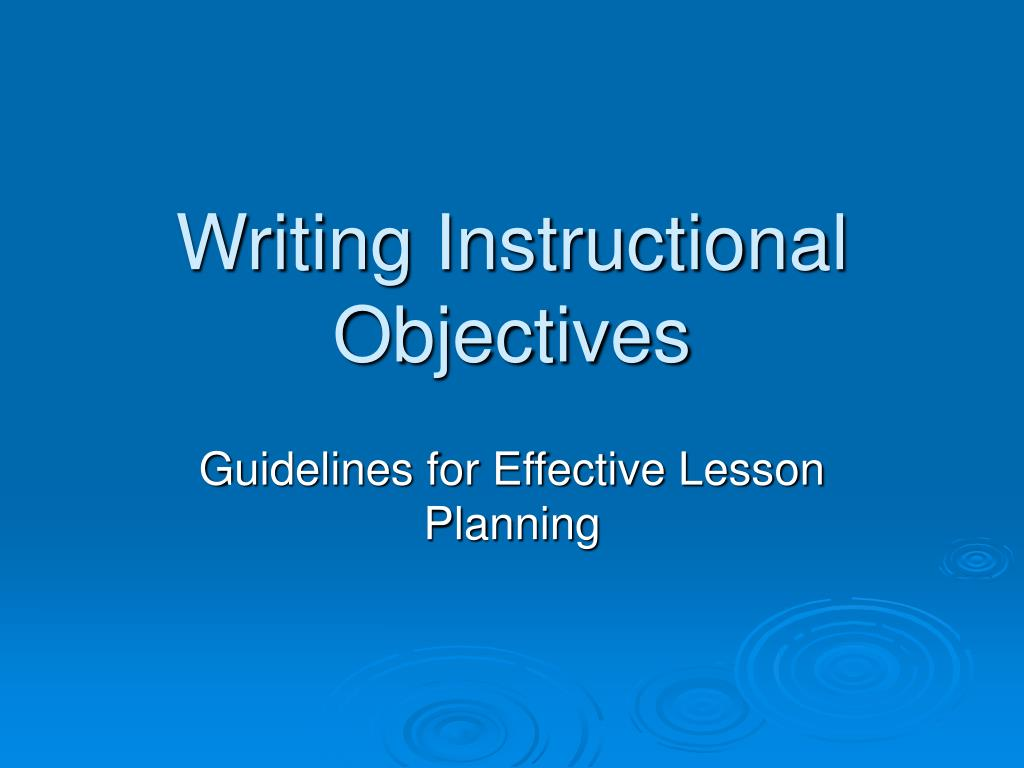 writing instructional objectives l.