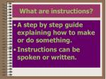 what are instructions