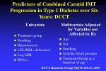 predictors of combined carotid imt progression in type 1 diabetes over six years dcct