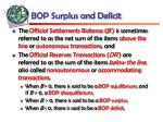 bop surplus and deficit