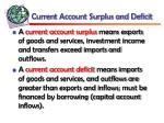 current account surplus and deficit