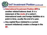 int l investment position continued