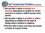 int l investment position continued36