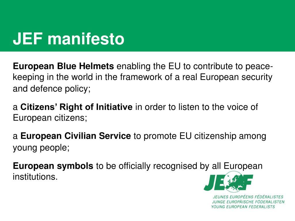 JEF manifesto