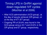 timing lps in gnrh agonist down regulated ivf cycles mochtar et al 2006