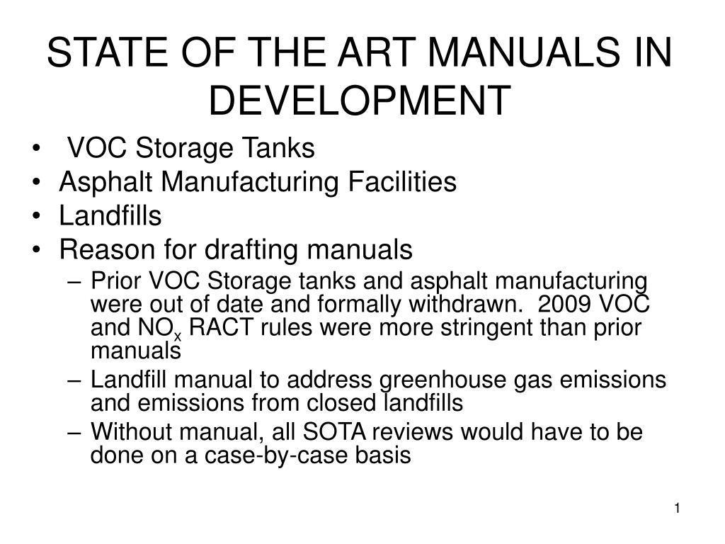 state of the art manuals in development l.