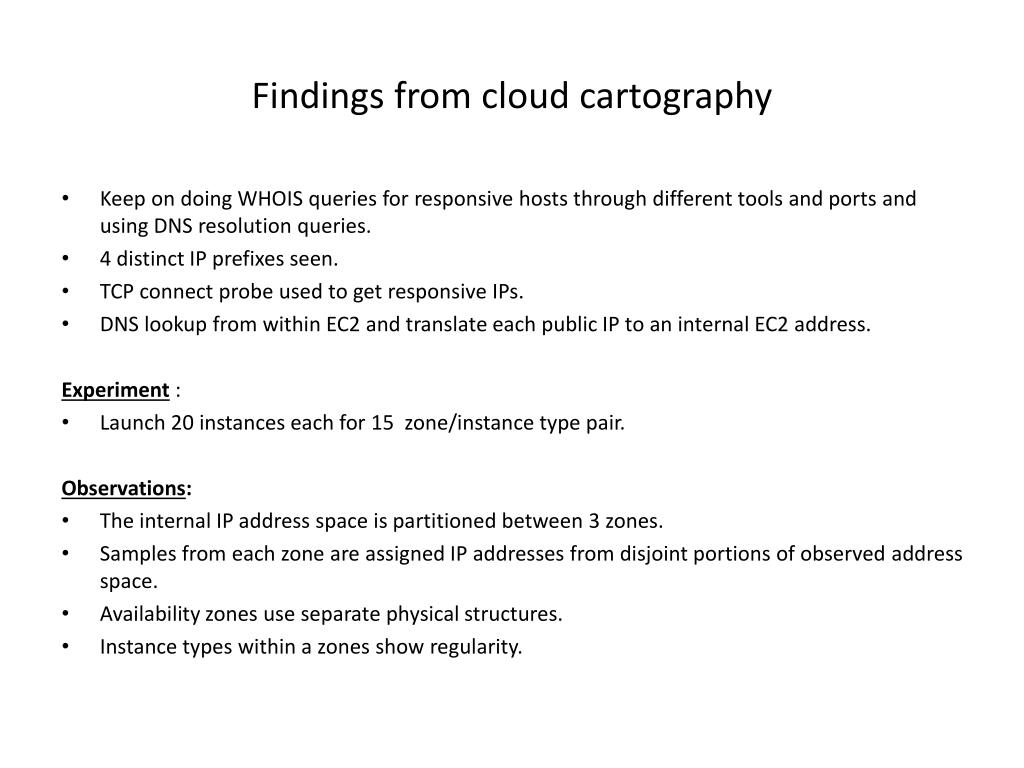 Findings from cloud cartography
