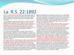 la r s 22 1892