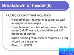breakdown of header 6