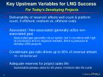 key upstream variables for lng success for today s developing projects