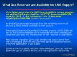 what gas reserves are available for lng supply