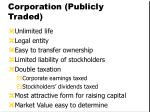 corporation publicly traded