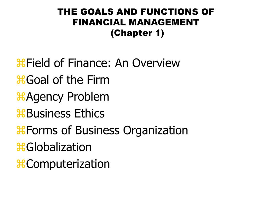 the goals and functions of financial management chapter 1 l.