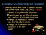 do investors use recent freq s of reversals