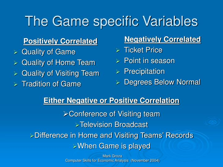 The game specific variables