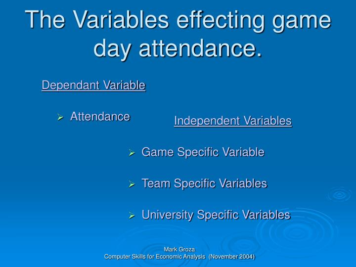 The variables effecting game day attendance