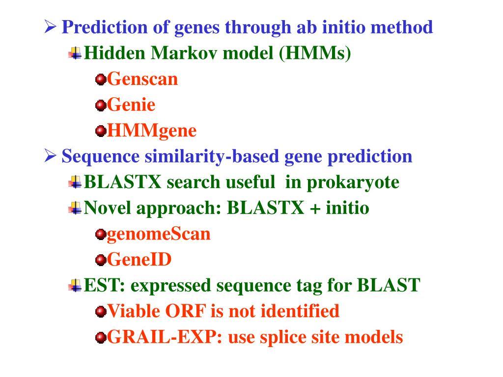 Prediction of genes through ab initio method