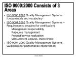 iso 9000 2000 consists of 3 areas