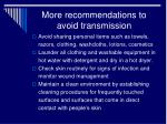 more recommendations to avoid transmission
