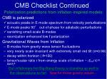 cmb checklist continued