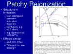 patchy reionization32