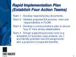 rapid implementation plan establish four action teams
