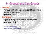 in groups and out groups
