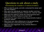 questions to ask about a study determining the soundness of statistical studies