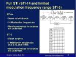 full sti sti 14 and limited modulation frequency range sti 3