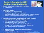 contact information for isdh newborn screening program