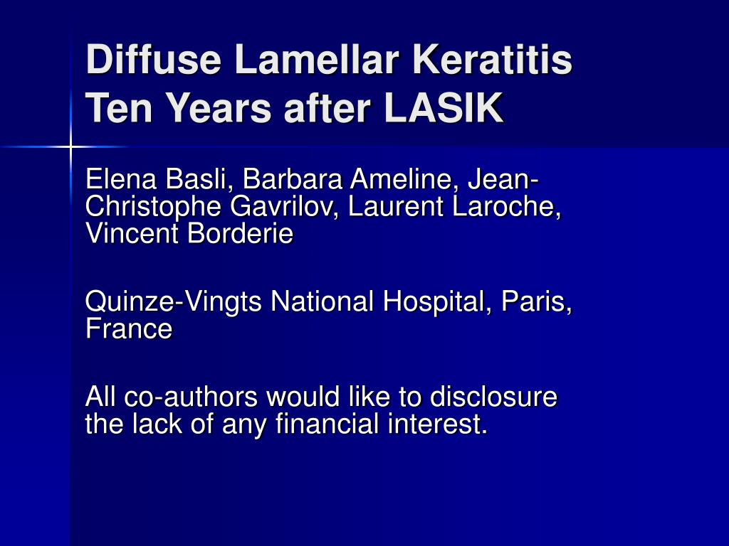 diffuse lamellar keratitis ten years after lasik l.
