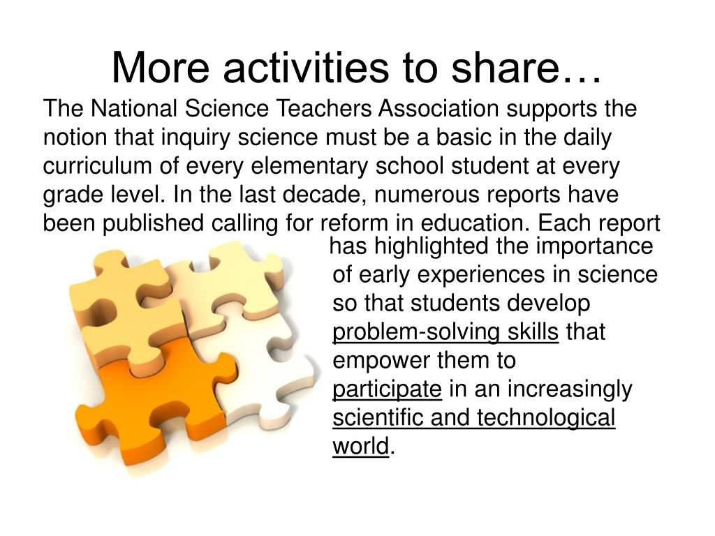 More activities to share…