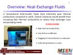 overview heat exchange fluids