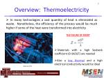overview thermoelectricity