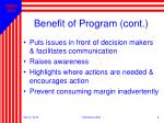 benefit of program cont