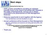 next steps www pharmacoepi org