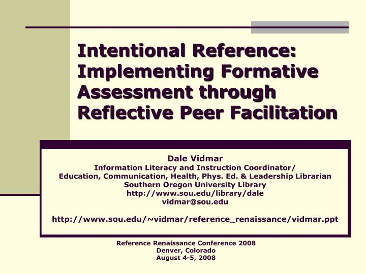 Intentional reference implementing formative assessment through reflective peer facilitation