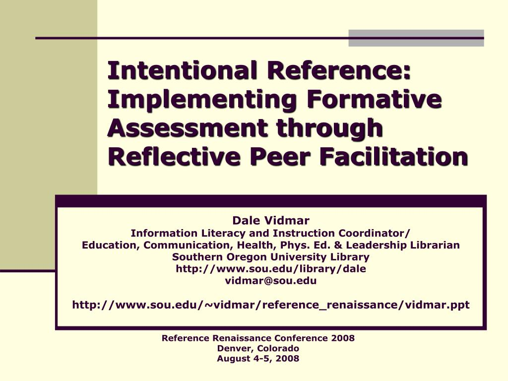 Intentional Reference: Implementing Formative Assessment through Reflective Peer Facilitation