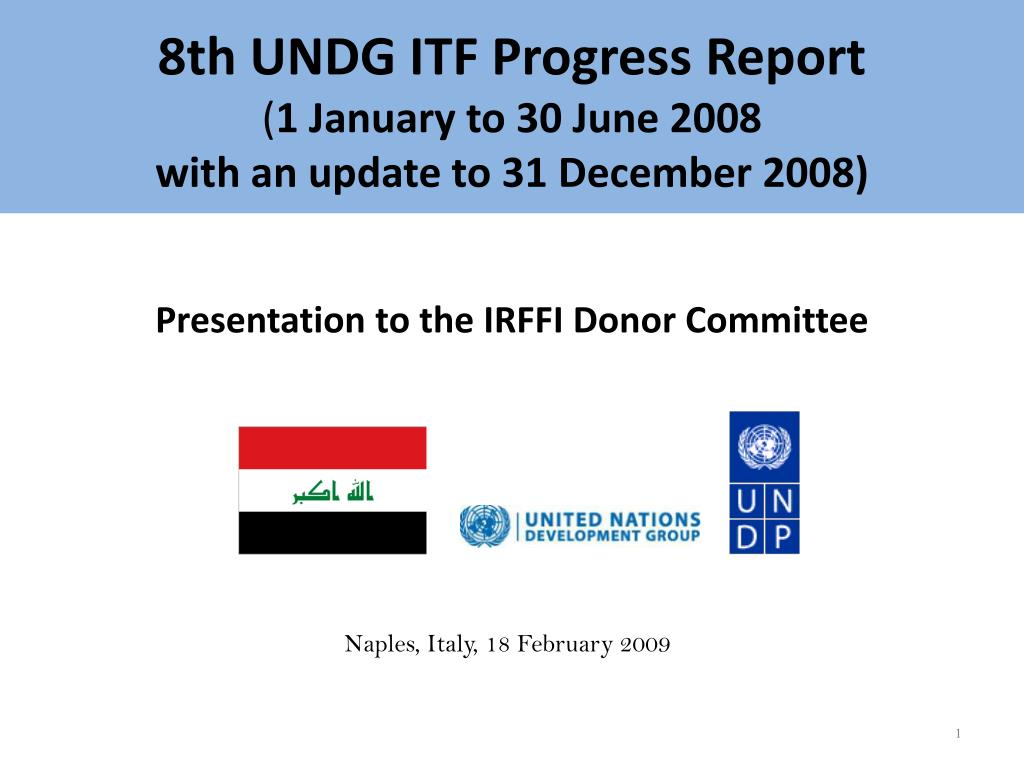 8th undg itf progress report 1 january to 30 june 2008 with an update to 31 december 2008 l.