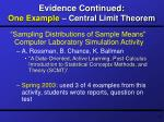 evidence continued one example central limit theorem