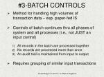 3 batch controls