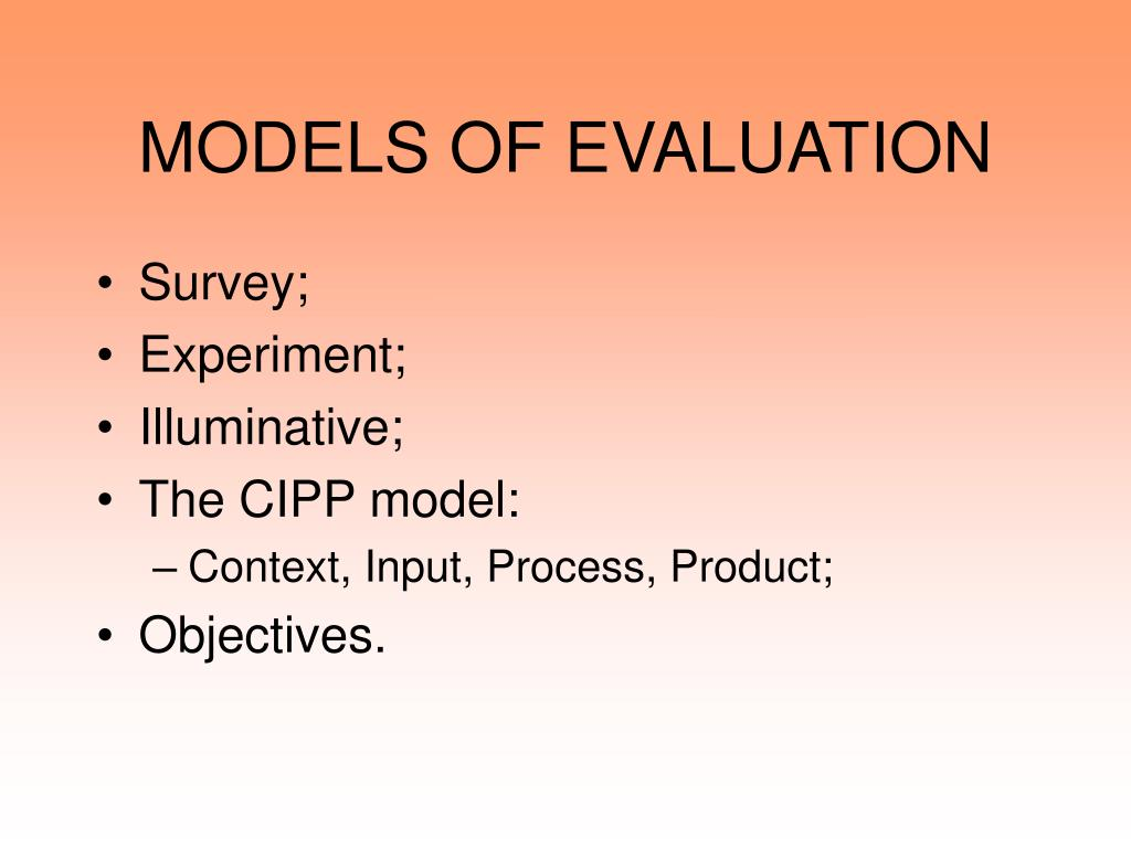 models of evaluation l.