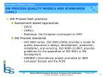 sw process quality models and standards cont