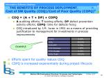 the benefits of process deployment cost of sw quality coq cost of poor quality copq